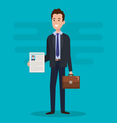 Man with curriculum vitae character vector