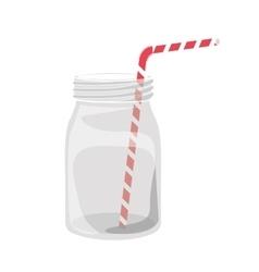 mason jar with straw vector image