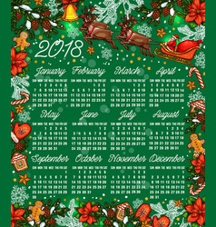 Merry christmas sketch 2018 calendar vector