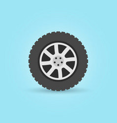 modern flat car wheel icon on blue vector image