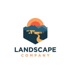 Mountain and river landscape adventure logo vector