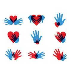 Multicolor diversity hands icons vector