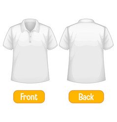 Opposite words with front and back shirt vector