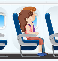 passenger on the plane seat vector image