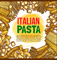 pasta and italian macaroni sketch poster vector image