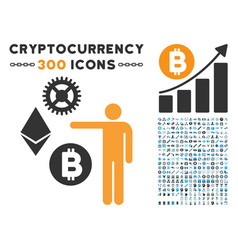 person show cryptocurrency flat icon with set vector image