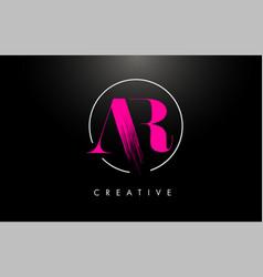 Pink ar brush stroke letter logo design vector