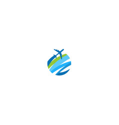 plane travel round abstract logo vector image