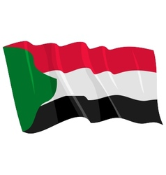 political waving flag of sudan vector image