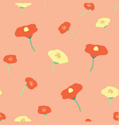 poppy flower red yellow seamless background vector image