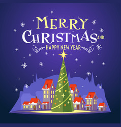 postcard merry christmas with a beautiful vector image