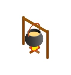 Pot of food over an open fire isometric 3d icon vector