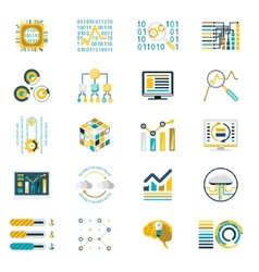 Processing storage large data volume icons vector