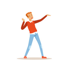 Red-haired man dancing with cheerful face vector