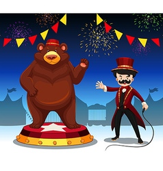 Ring master and bear at circus show vector