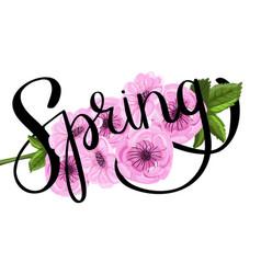 sakura ink spring lettering vector image