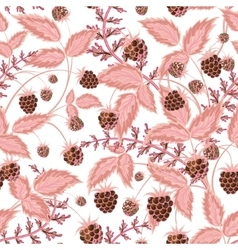 Seamless pattern with leaves and raspberry vector image
