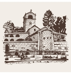 Sepia hand drawing of Cetinje monastery - ancient vector