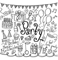set of hand drawn doodle party icons vector image