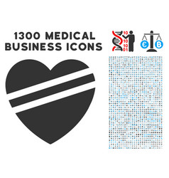 sick heart icon with 1300 medical business icons vector image