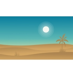 Silhouette of desert and palm landscape vector