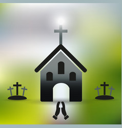 Simple christian church with cross and praying vector