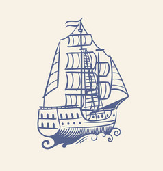 sketch sailboat vintage medieval pirate running vector image