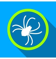 Spider Flat Long Shadow Square Icon vector