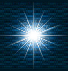 Starlight shining flare with rays on dark blue vector