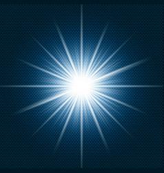 starlight shining flare with rays on dark blue vector image