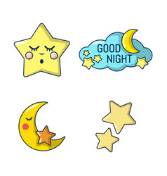 stars icon set cartoon style vector image