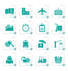 stylized cargo shipping and logistic icons vector image