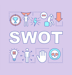 swot purple word concepts banner strength vector image