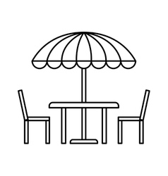 Table chairs and parasol vector