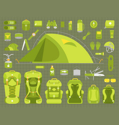 tourism travel adventure camping set hiking vector image