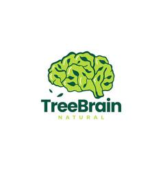 Tree brain leaf smart idea think logo icon vector