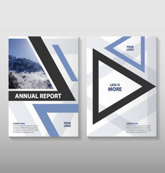 Triangle blue annual report leaflet flyer template vector