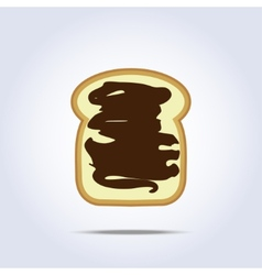 White bread toast icon with chocolate vector