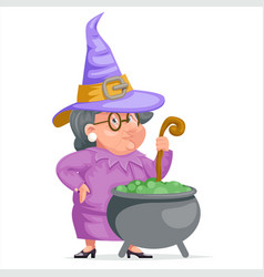 witch with cauldron granny cartoon character adult vector image