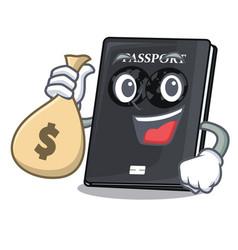 With money bag black passport in a cartoon bag vector