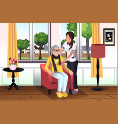woman taking care of a senior lady vector image