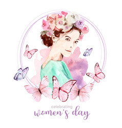 Women day wreath design with butterfly flower vector
