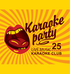 Yellow banner for club with mouth singing karaoke vector