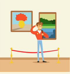 Young tourist man standing in art gallery in front vector