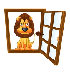 a lion in a window vector image