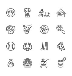 dog is my best friend simple thin line icons set vector image vector image