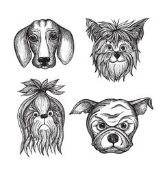 Hand drawn dog faces set vector