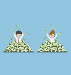 happy businessman standing in a pile of money vector image