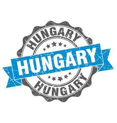 Hungary round ribbon seal vector