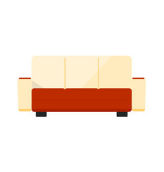 red and white sofa icon vector image